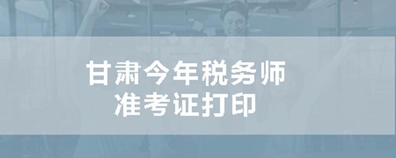甘肃今年税务师准考证打印