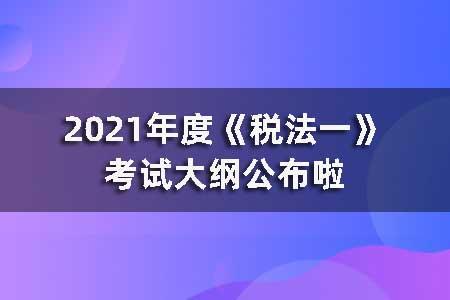 2021年度《税法一》考试大纲公布啦